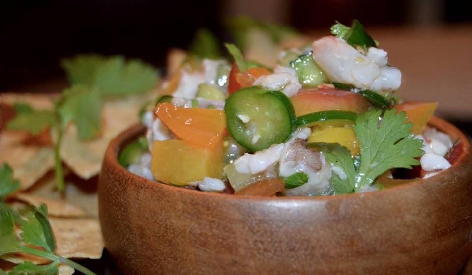 CREOLE LA – GRILLED PEACH AND SHRIMP CEVICHE