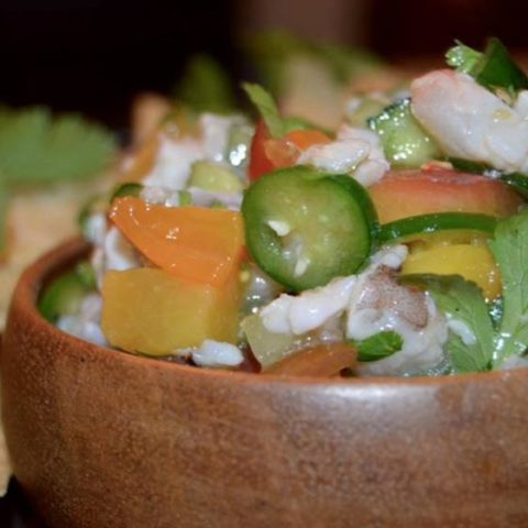Grilled Peach and Shrimp Ceviche