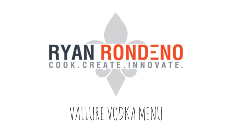 Vallure Vodka Menu