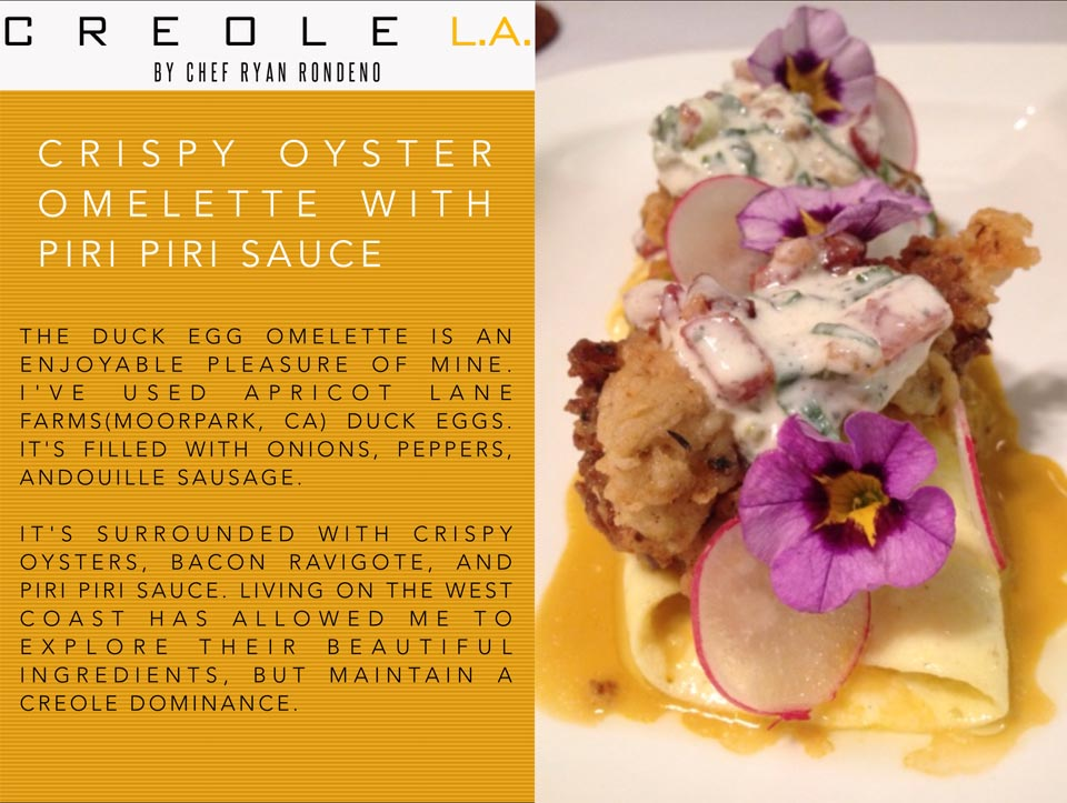 CREOLE L.A. - CRISPY OYSTER OMELETTE WITH PIRI PIRI SAUCE