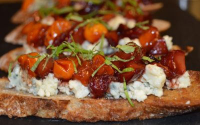 Crostini, Blue Cheese, Plum, and Mint